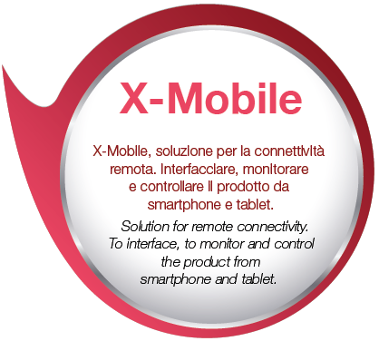 X-Mobile, solution for remote connectivity. To interface, monitor and control the product from smartphones and tablets